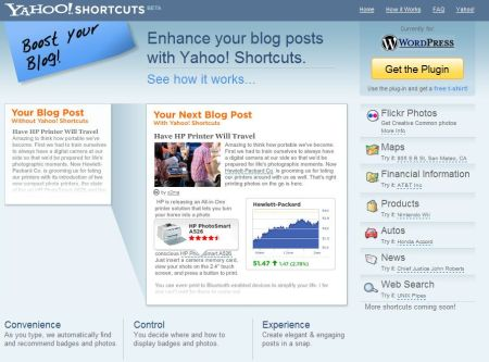 Yahoo Shortcuts, Plugin para WordPress