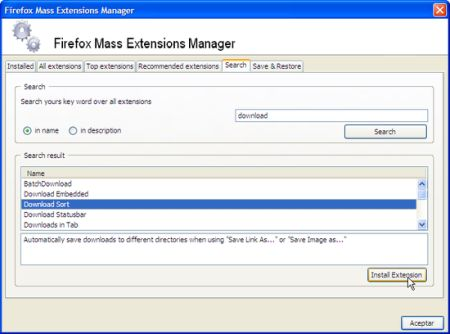 Firefox Mass Extension Manager, todas las extensiones para Firefox