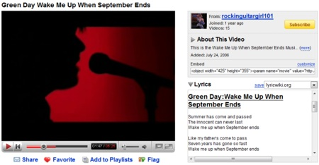 Youtube Lyrics, Letras de canciones en los vídeos de Youtube
