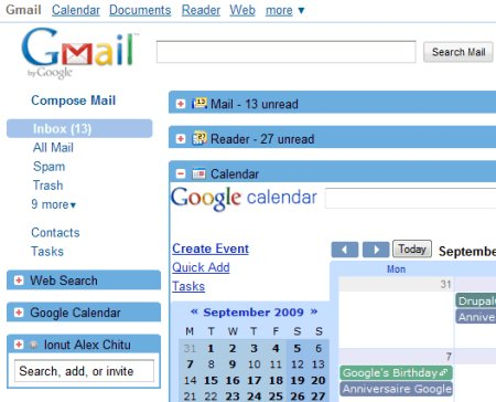 Integrated Gmail, utiliza Gmail, Google Reader y otros ...