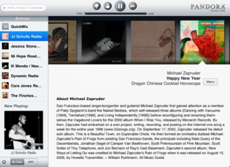 Pandora on iPad en formato horizontal