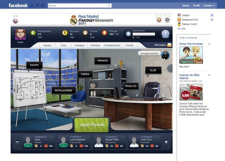 Real Madrid Fantasy Manager 2011 pantalla Facebook