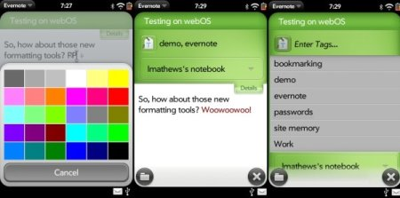 Evernote webOS
