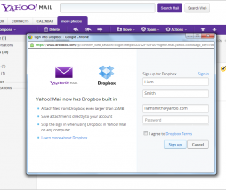 dropbox yahoo mail