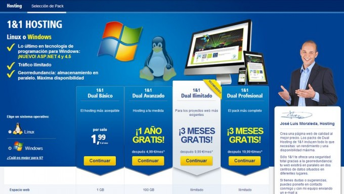 1&1 ofrece hosting con Windows